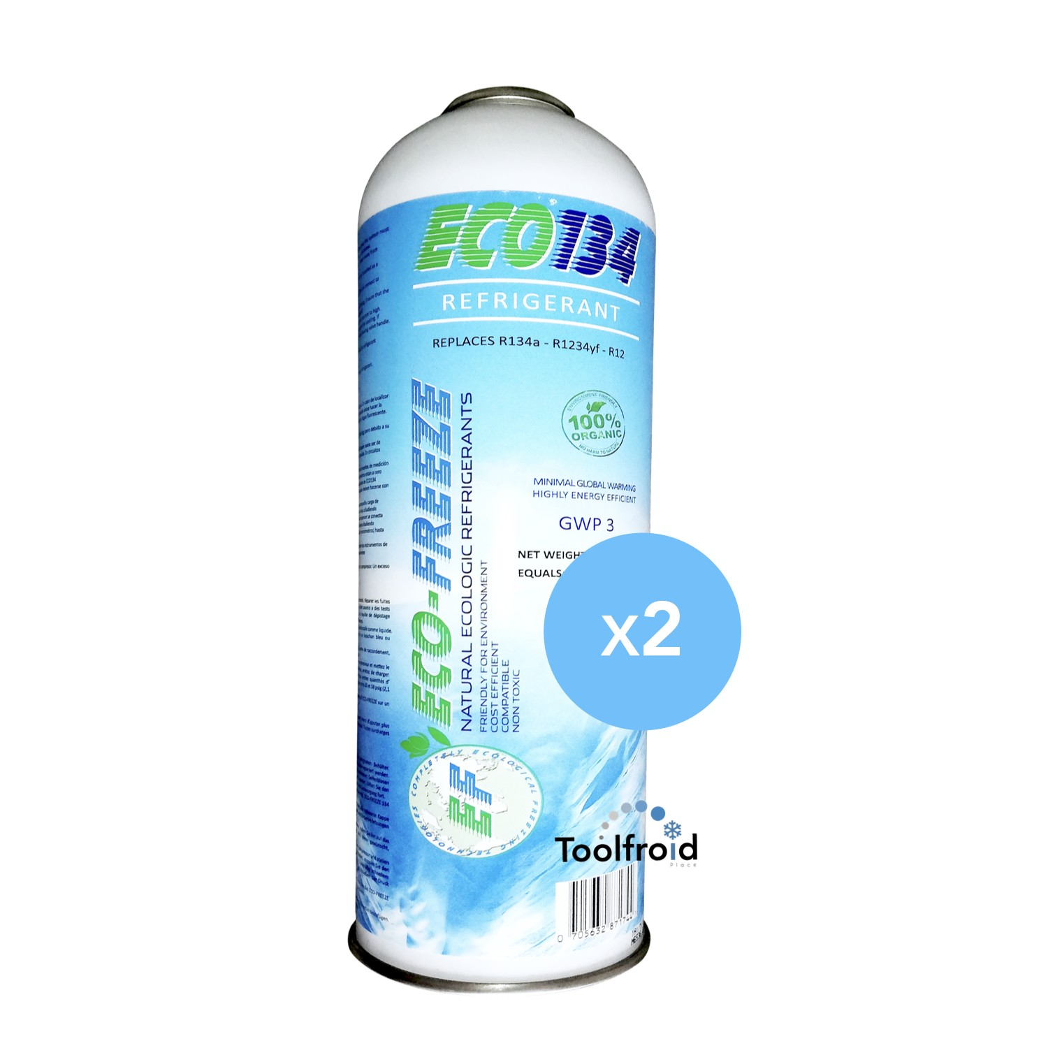 Lot 2 recharges gaz ULTRACOOL R134A climatisation auto 12a